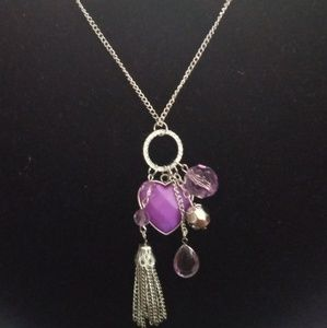 Long Purple charm necklace with earrings